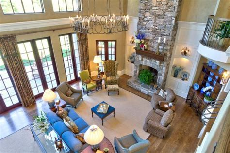 Bird's Eye View of Traditional Great Room With Stone