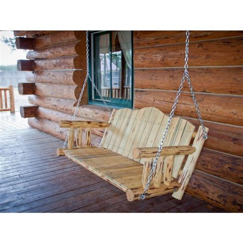 Rustic Log Pine Porch Swing
