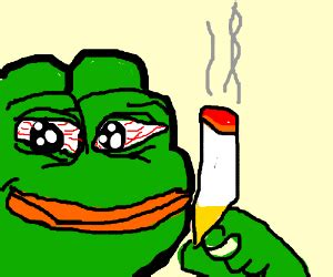 Fat frog does smoking - Drawception