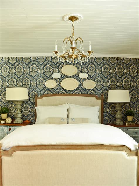 French Country Blue and White Bedroom with Chandelier | HGTV